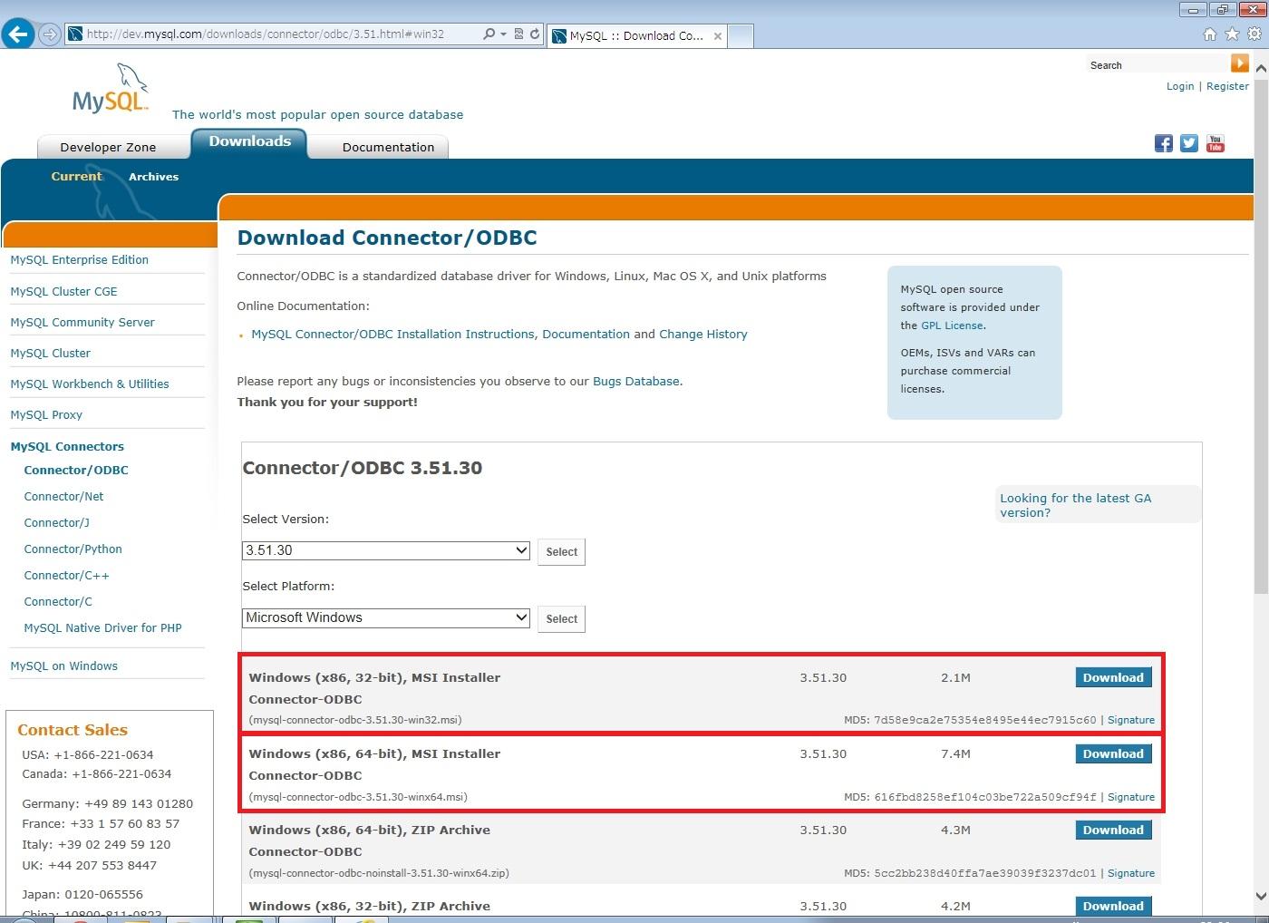 MySQL Connector/ODBC 3.51のセットアップおよ …